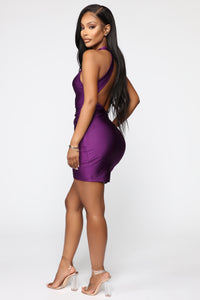 You Can't Go Wrong Ruched Mini Dress - Purple