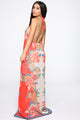 Molokai Halter Maxi Dress - Red/combo