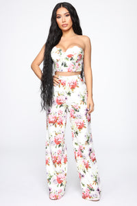 Enchanted Love Floral Pant Set - White/combo