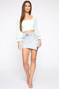 Leave Me Be Blouse - Mint Angle 2