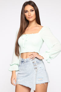 Leave Me Be Blouse - Mint Angle 1