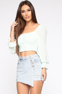 Leave Me Be Blouse - Mint Angle 3