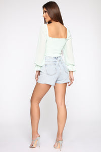 Leave Me Be Blouse - Mint Angle 5