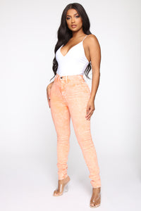 Still Going Bad On You Anyway High Rise Jeans - Neon Orange