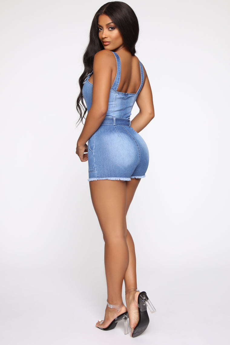 Strapped For A Good Time Denim Romper - Medium Wash