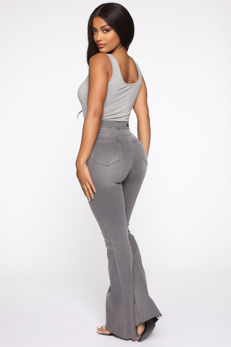 The Time Is Now High Rise Flare Jeans - Grey