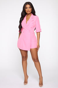 Boss Babe Moves Blazer Romper - Hot Pink Angle 2