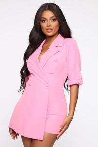 Boss Babe Moves Blazer Romper - Hot Pink Angle 1