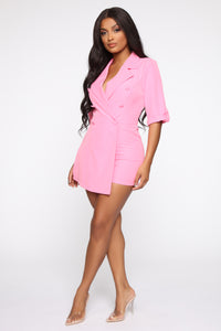 Boss Babe Moves Blazer Romper - Hot Pink Angle 3