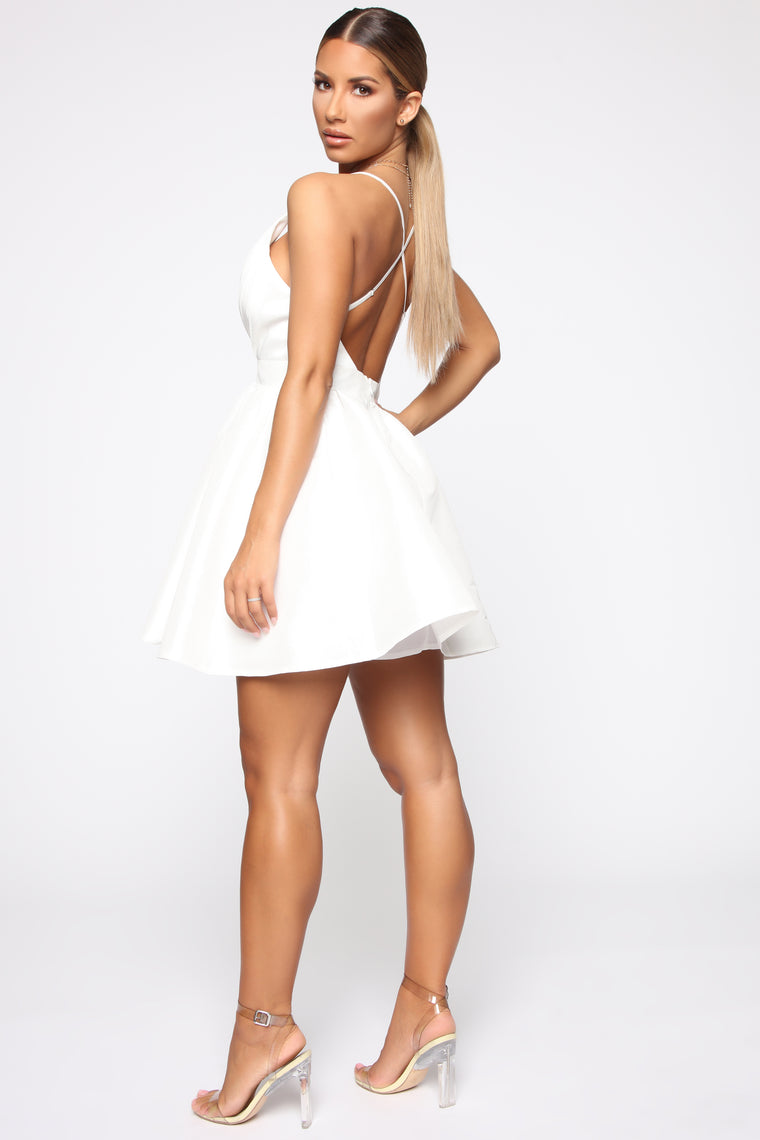 In Your Embrace Flare Mini Dress - White