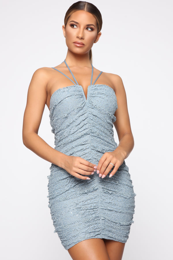 fcf03e2296 Wish And Desire Ruched Lace Dress - Dusty Blue