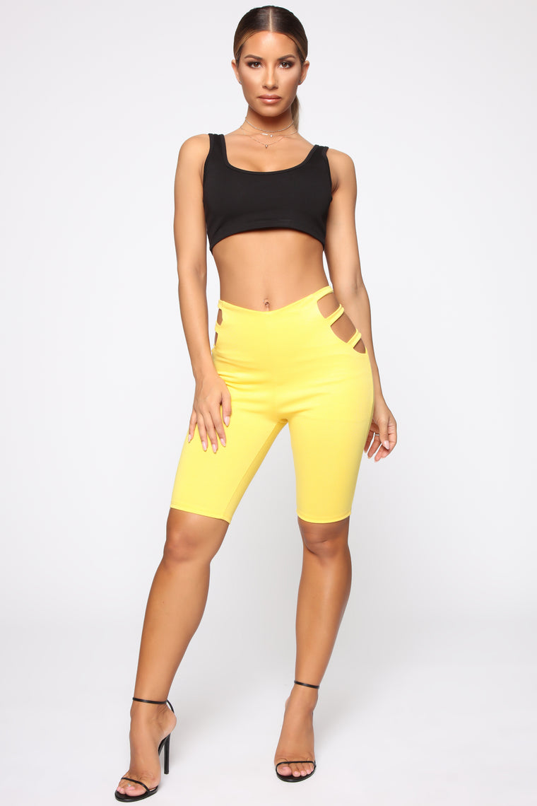 Checking Me Out Biker Shorts - Yellow