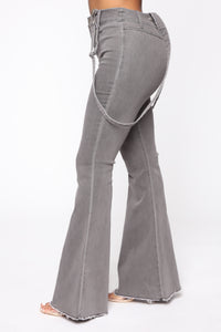 Saved By The Bell Bottom Jeans - Grey