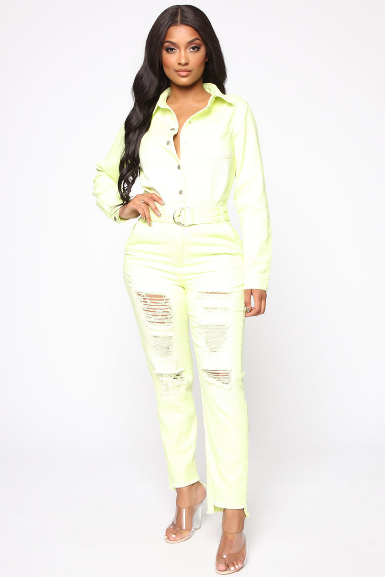 45248d77be Less Stress Colored Denim Jumpsuit - Neon Yellow
