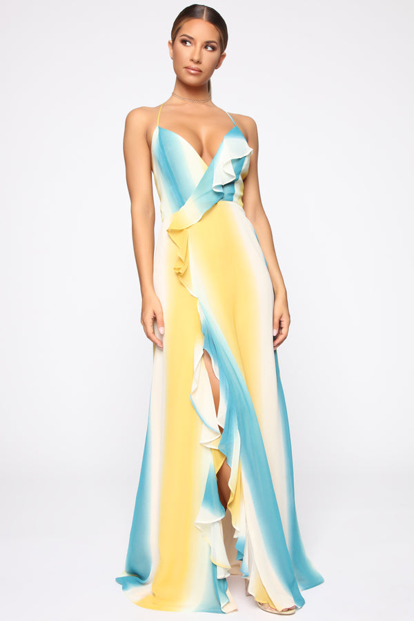 80d9c139af Want It My Way Maxi Dress - Yellow Blue