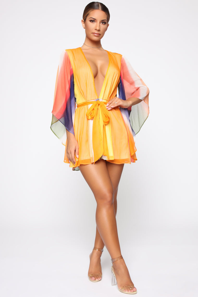 Never Blend In Chiffon Romper - Rainbow