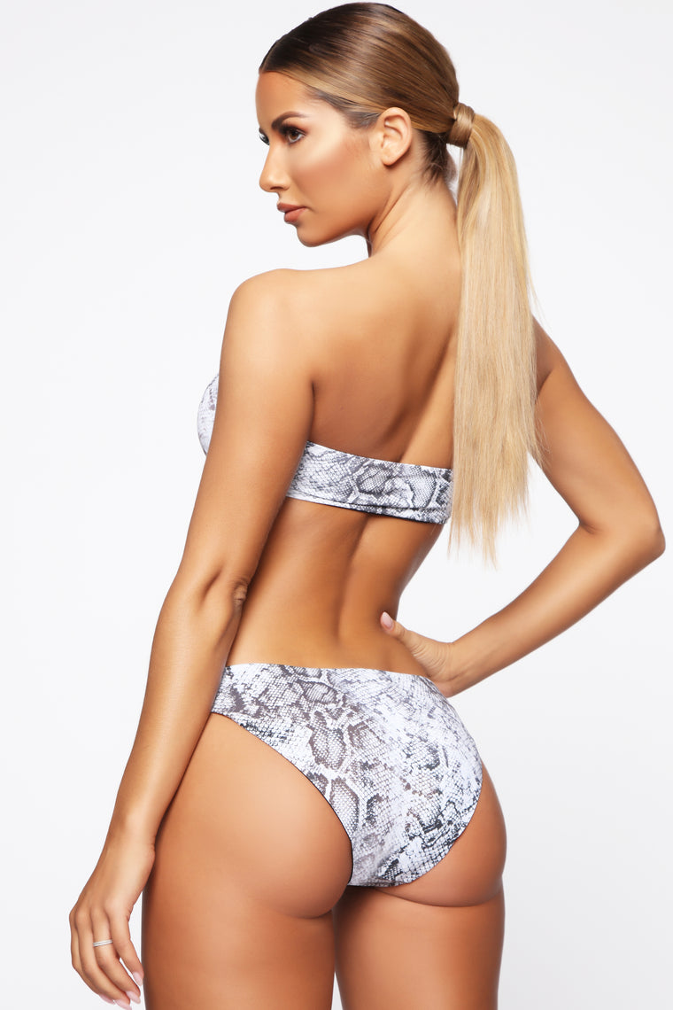 Swim And Chill Reversible Print Bikini - Grey Snake