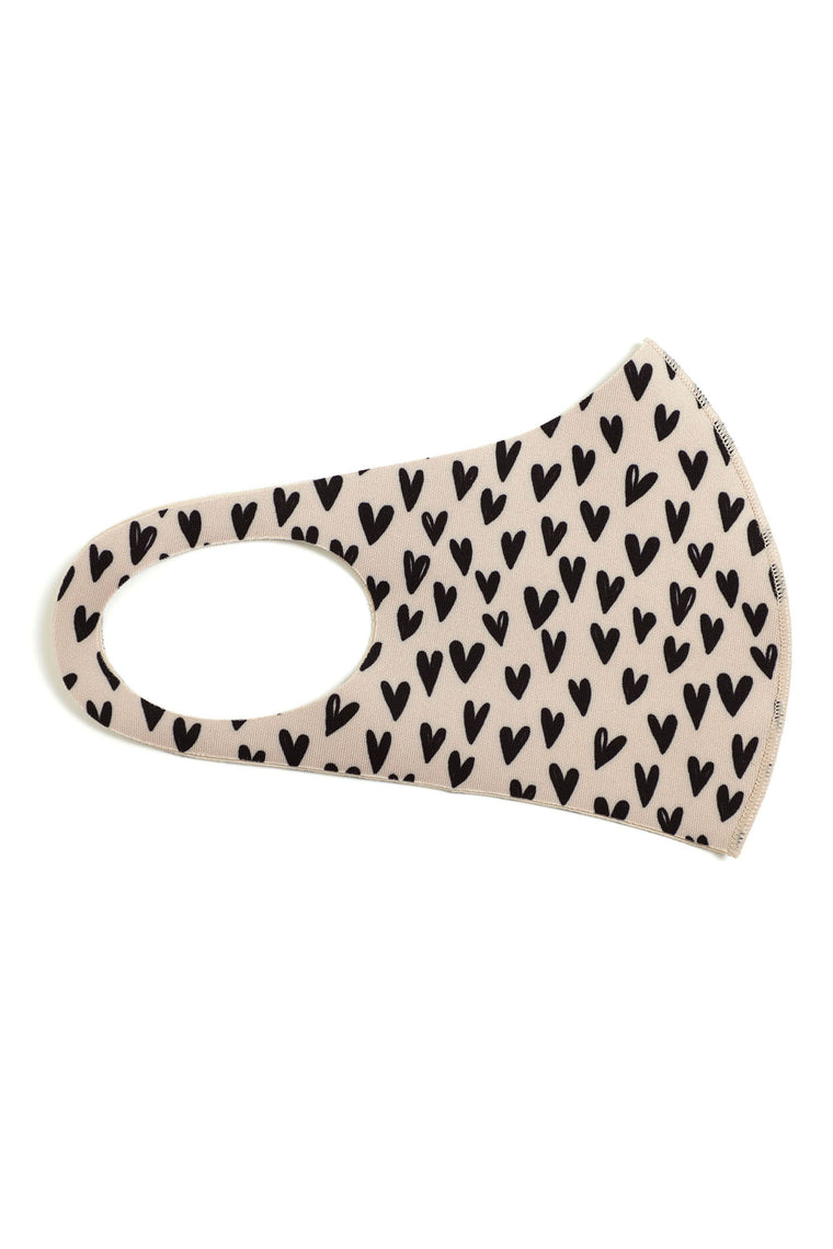 Heart Face Mask - Taupe/combo