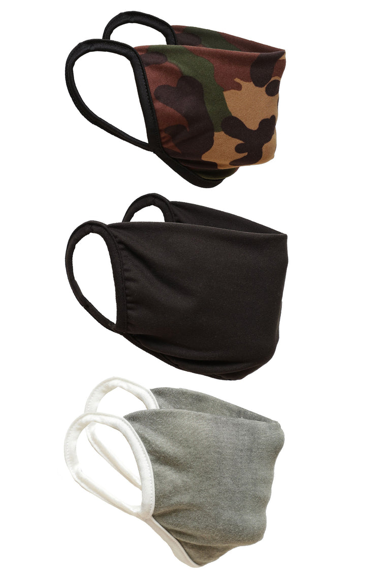 Camo Face Mask 3 Pack - Camouflage