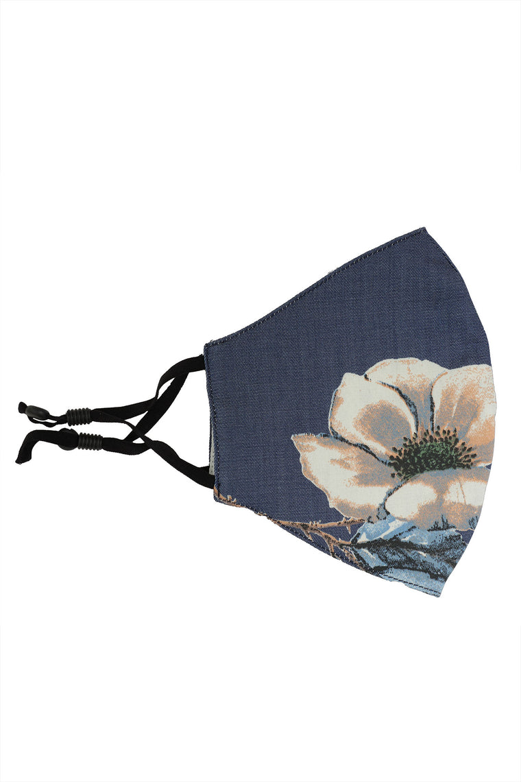 Large Floral Denim Face Mask - Dark Wash