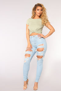 Live Let Live Skinny Jeans - Light Blue Wash Angle 2
