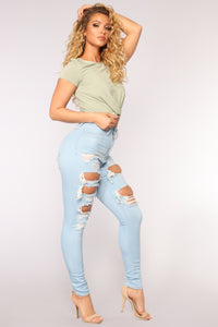 Live Let Live Skinny Jeans - Light Blue Wash Angle 3