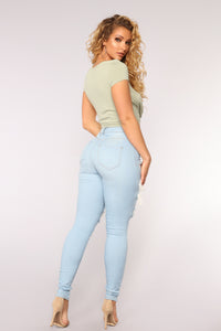 Live Let Live Skinny Jeans - Light Blue Wash Angle 5
