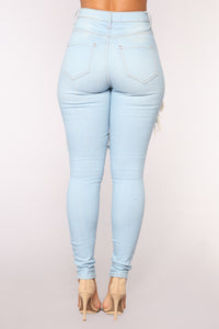 Live Let Live Skinny Jeans - Light Blue Wash Angle 6