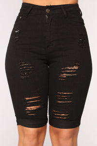 Hot Summer Days Denim Bermudas - Black