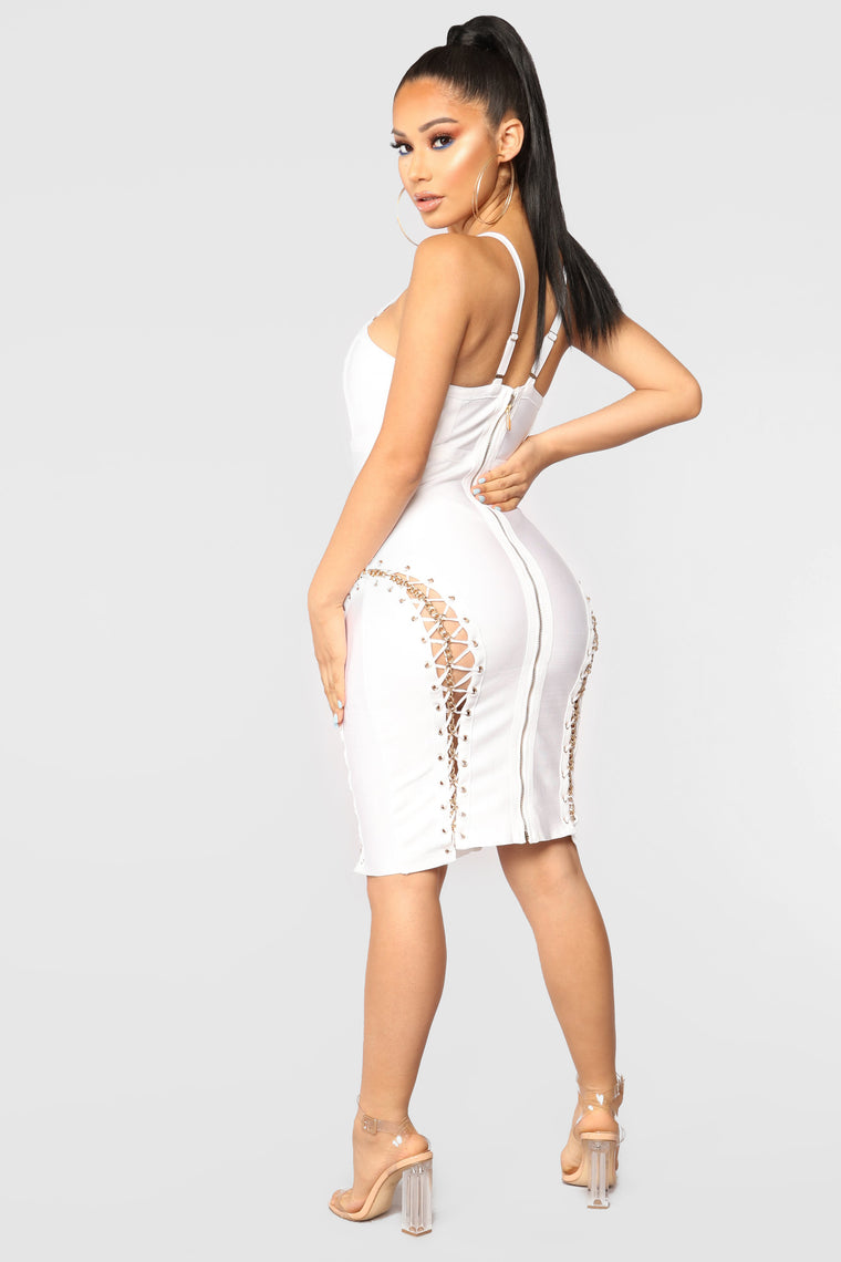 Hold It Together Bandage Dress - White