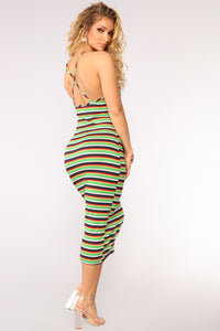 Sabina Striped Dress - Green