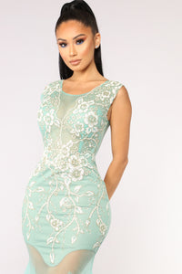 Dream Come True Embellished Dress - Mint