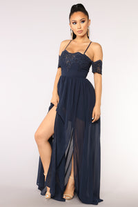 Visionary Chiffon Dress - Navy