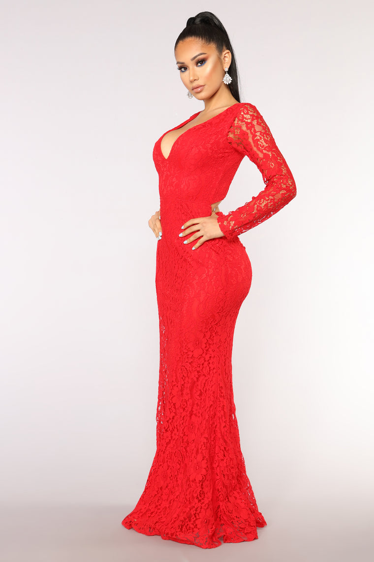 Rendezvous Lace Dress - Red