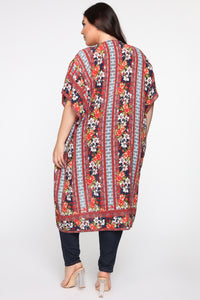 Floral In Love Kimono - Red/combo