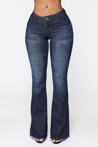 Jackie No Waist Flare Jeans - Dark Denim