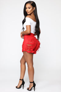 Yes Now Distressed Bermuda Shorts - Red