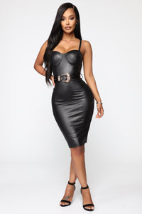 Coming In Hot Faux Leather Midi Dress - Black Angle 2