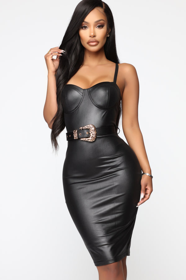 6179dcff467 Coming In Hot Faux Leather Midi Dress - Black