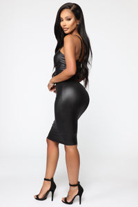 Coming In Hot Faux Leather Midi Dress - Black Angle 3
