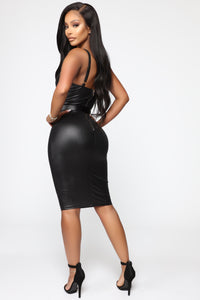 Coming In Hot Faux Leather Midi Dress - Black Angle 4