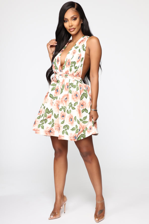 cf371367fe9 Give A Twirl Floral Fit And Flare Dress - White Combo