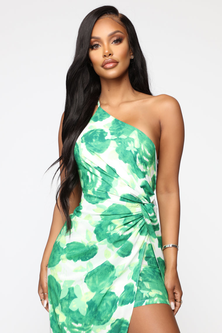 Here For The Moment Floral Maxi Dress - Green Floral