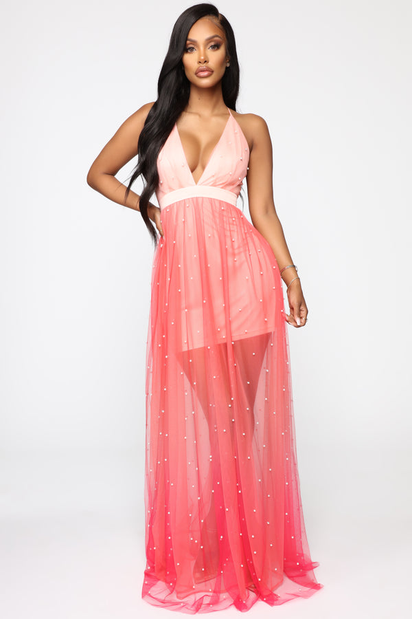 22c0ea7905 Walking On Clouds Ombre Maxi Dress - Coral Combo