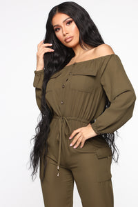 Jump For An Adventure Jogger Jumpsuit - Olive Angle 2