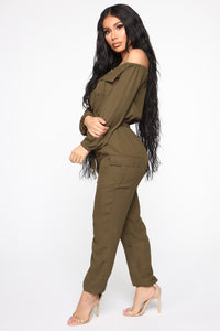 Jump For An Adventure Jogger Jumpsuit - Olive Angle 3