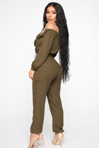 Jump For An Adventure Jogger Jumpsuit - Olive Angle 4