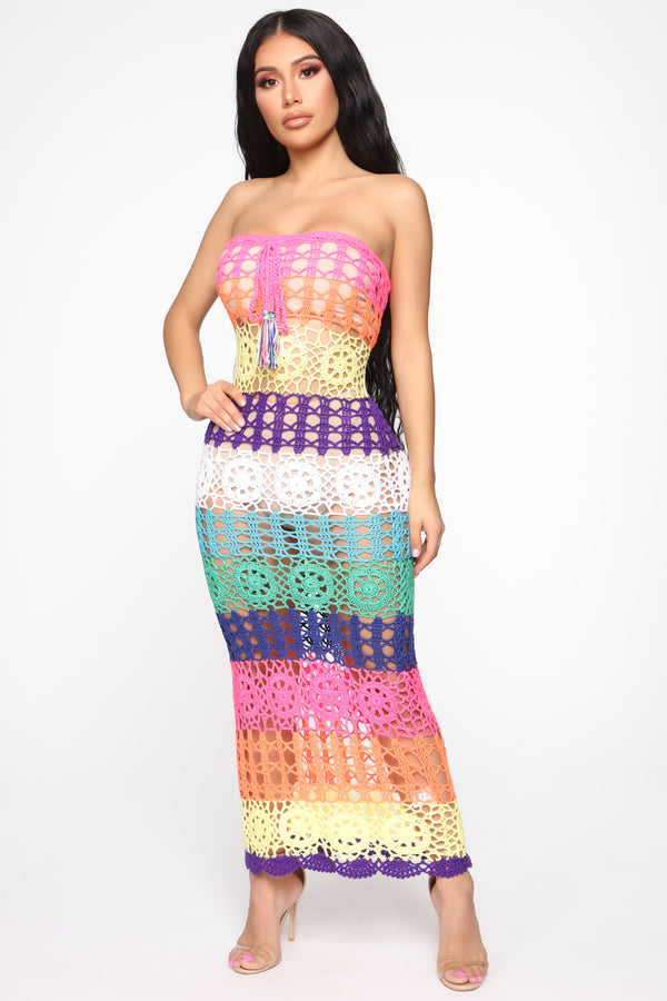 402c7a5c54 Out On Vacation Crochet Midi Dress - MultiColor