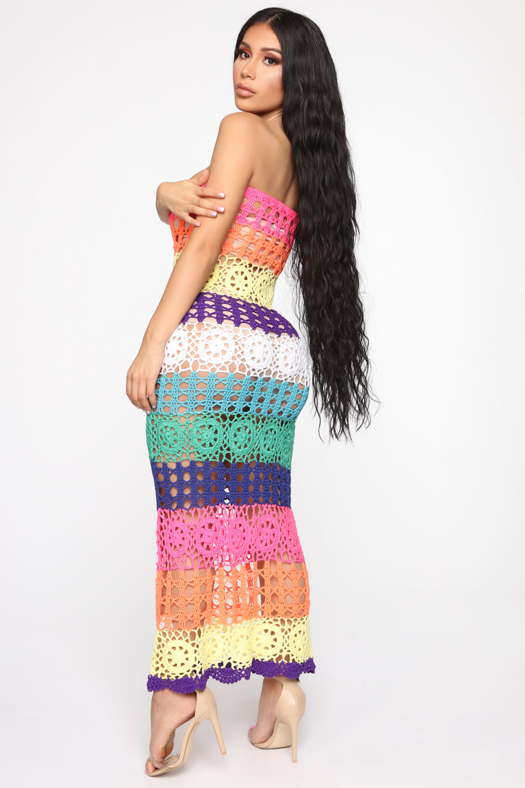 Out On Vacation Crochet Midi Dress - MultiColor