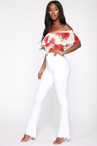 Floral Around Mesh Bodysuit - Ivory Angle 5